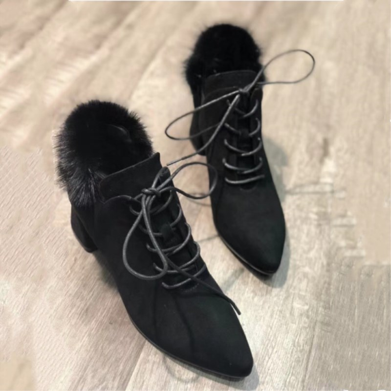 Mink fur collar ladies winter warm velvet thick with lace tassel shoes leather lining thick heel shoes women boots Boota women's hm023 women s winter hats real genuine mink fur hat winter women s warm caps whole piece mink fur hats