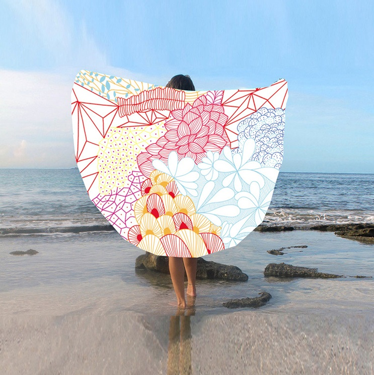 European And American Fringe Round Bath Towel Yoga Mat Colorful Beach Towel Blanket Suntan Beach Towel St06-26