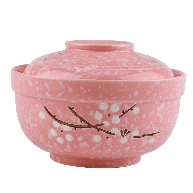 Creative 6.5 Inch Ceramic Bowl with cover Japanese underglaze colour round rice bowl Household soup bowl tableware