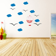 DIY Wall Sticker Cartoon Cloud hot-air balloon Stickers For Kids Baby Rooms Nursery Home Decor Wallpaper Vinyl Art Mural