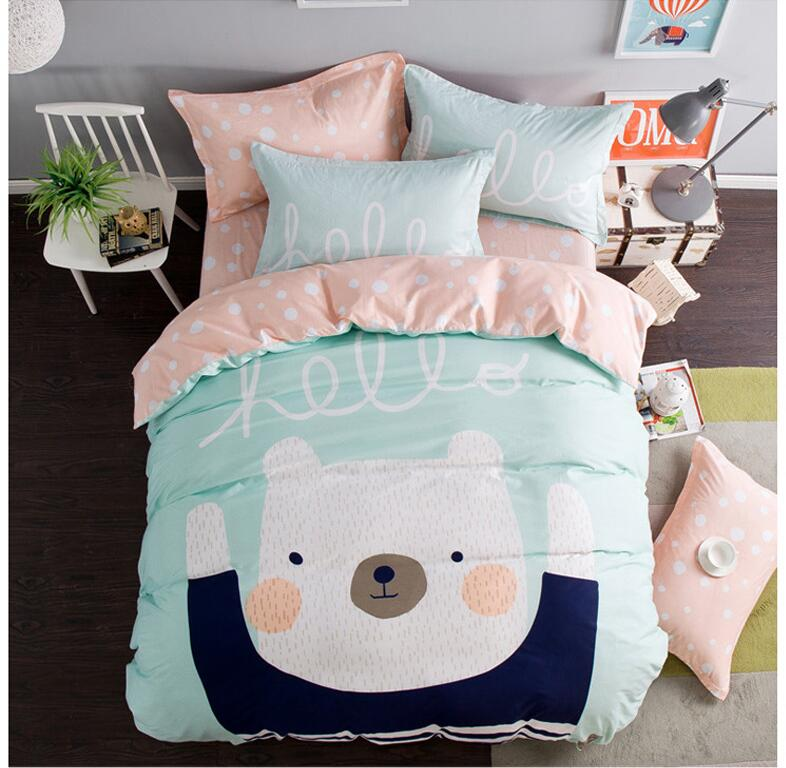 1.2m Cartoon Bedding Sets 100%Cotton Bedsheet Types Lovely Kids Bedding Unisex Free Shipping 3pcs/set No Inner