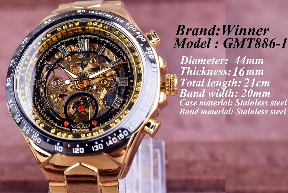 Winner New Number Sport Design Bezel Golden Watch Mens Watches Top Brand Luxury Montre Homme Clock Men Automatic Skeleton Watch 4