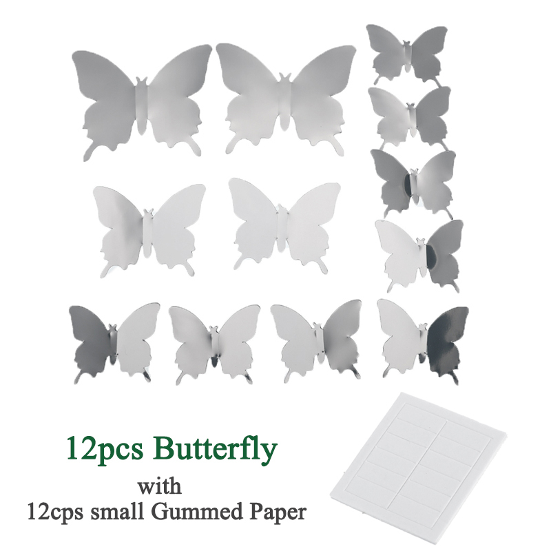 Image 5 - 12pcs 3D Mirrors Butterfly Wall Stickers Decal Wall Art Removable Room  Party Wedding Decor Home Deco Wall Sticker for Kids Room-in Wall Stickers from Home & Garden