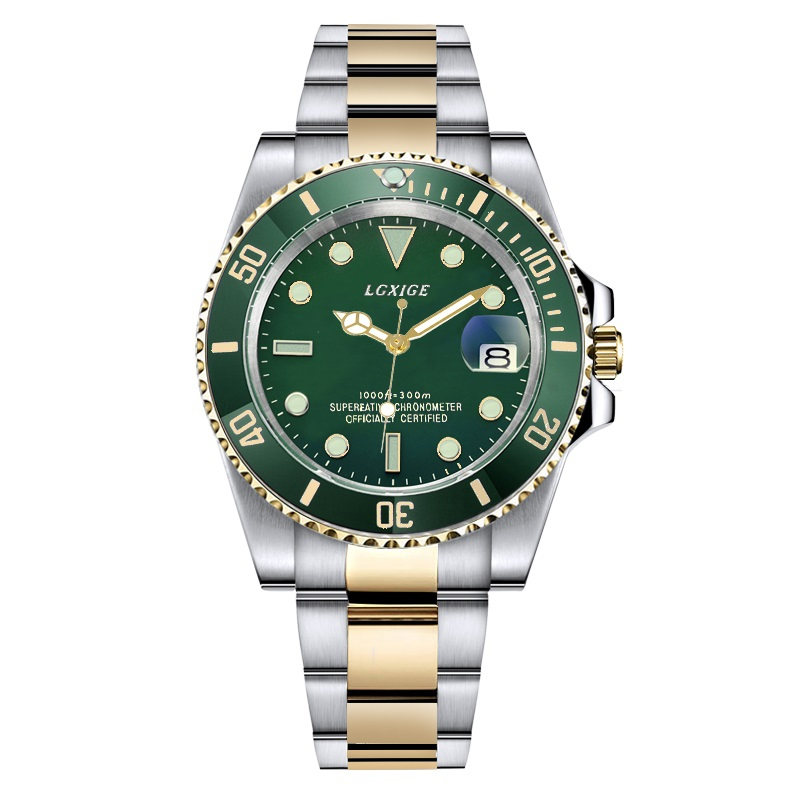 mens watches top brand luxury Full stainless steel Green Wrist Watch Men 50m waterproof casual quartz watch relogio masculino luxury brand biden mens watches multi time zone casual quartz wrist watch men mesh stainless steel band relogio masculino