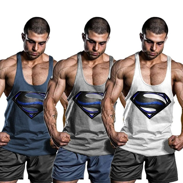 47049bc4aebcf OA Men Superman Black Men Bodybuilding Tank Top Muscle Shirts Gym Fitness  Stringer Sports Sleeveless Vest