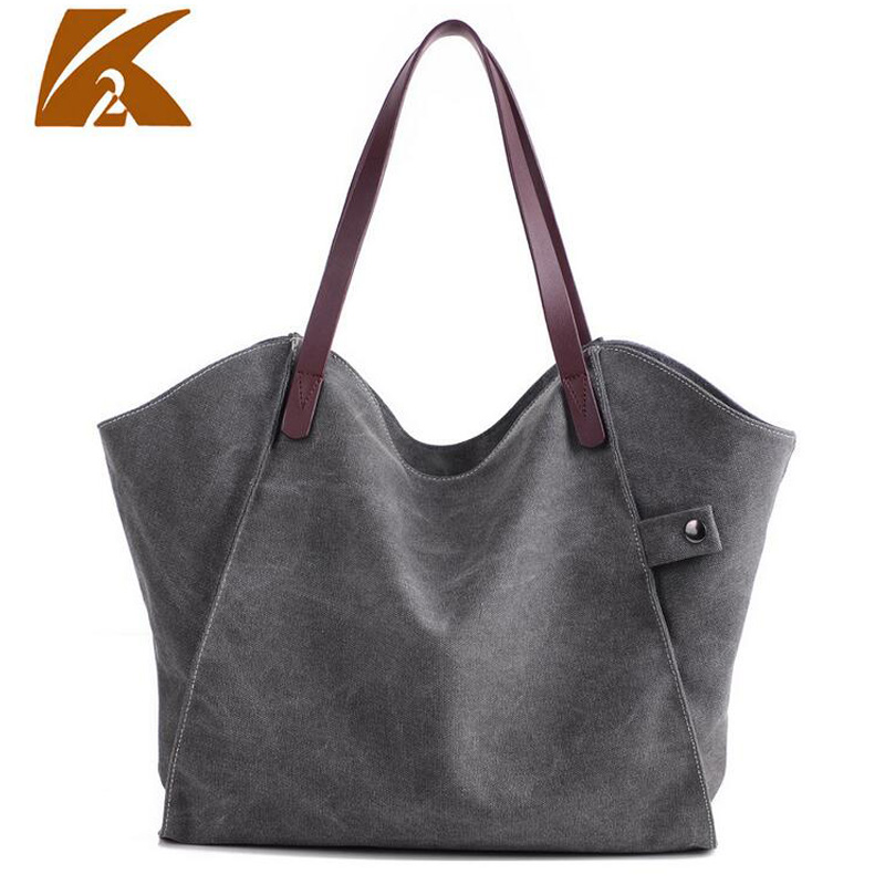 KVKY Big Size Vintage Canvas Tote Handbag Women's Casual Large Capacity Shoulder Bag Girl's Retro Travel Bolsa Sac A Main B357 цена