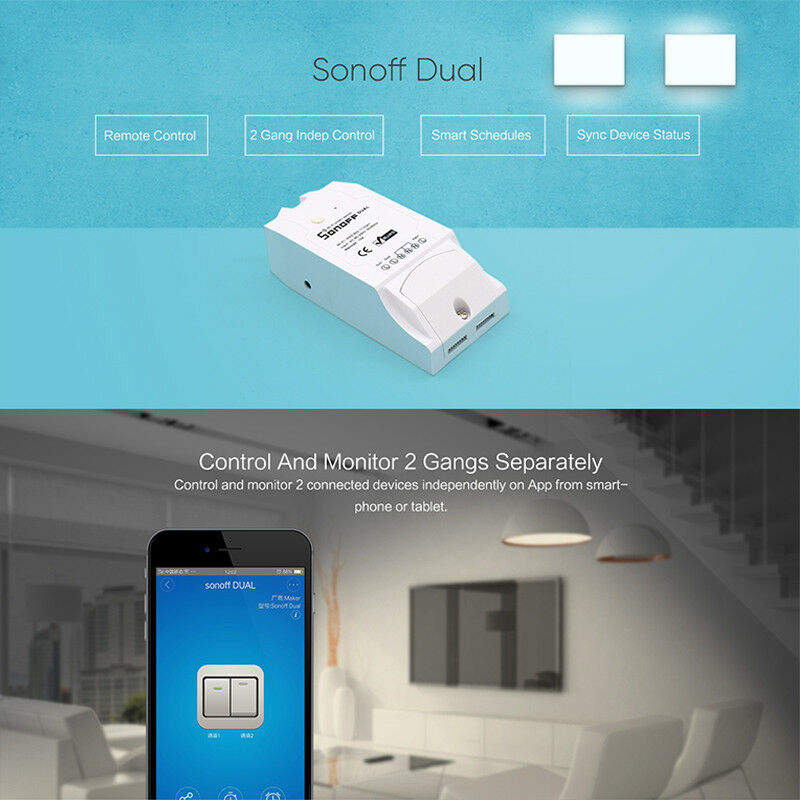 Sonoff Dual 2CH Wifi Light Switch Multi-Device Controlled Switch Control Two Device Wireless Smart Switch with Alexa Google Home