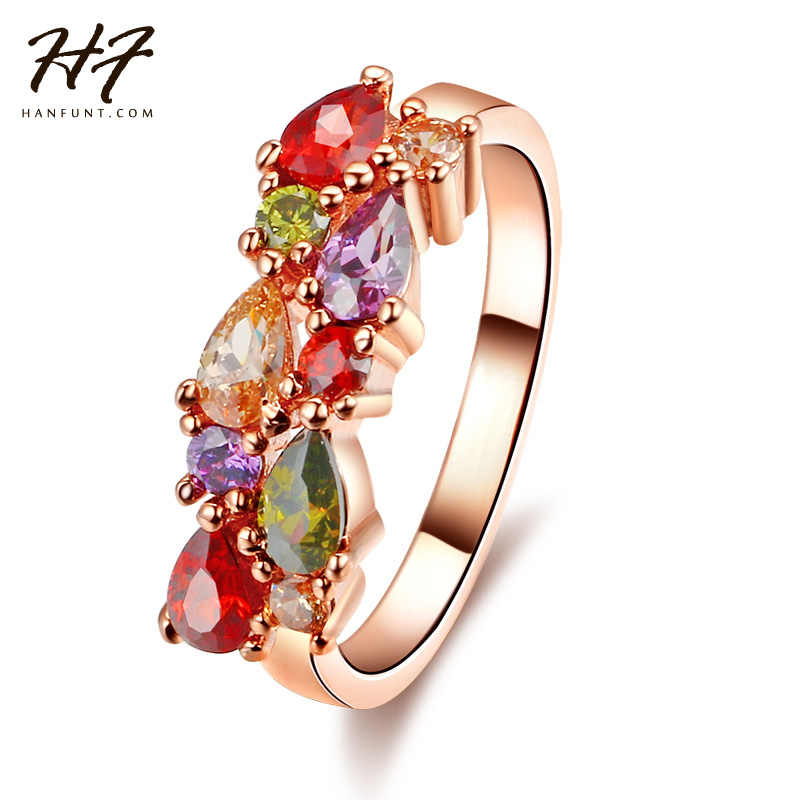 Farbige Stein Rose Gold Farbe Cubic Zirkon Kristall Engagement Ring Schmuck Für Frauen Hochzeit Weihnachten Geschenk R484