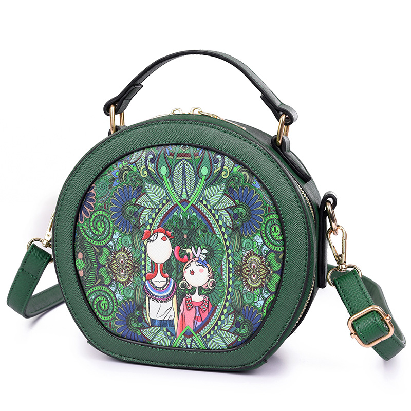 New Women Bag Female Handbags Pu Leather Shoulder Bag Crossbody Tote Handbag Round Flower Small Green Cute Women Messenger Bags handbag