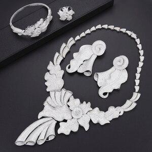 Image 2 - Luxus Blatt dubai schmuck set für frauen mode Schmuck Hochzeit Halskette Ohrringe Armband Ring Schmuck Set parure bijoux femme