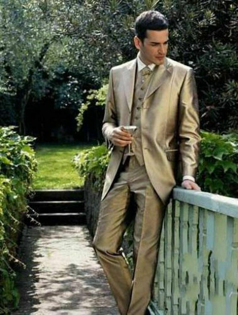 Golden Satin Groom Tuxedos Groomsman Suit High Quality Wedding Men suits Custom in Suits from Men 39 s Clothing