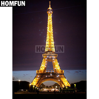 "HOMFUN Full Square/Round Drill 5D DIY Diamond Painting ""Eiffel Tower"" Embroidery Cross Stitch 3D Home Decor Gift A02507"