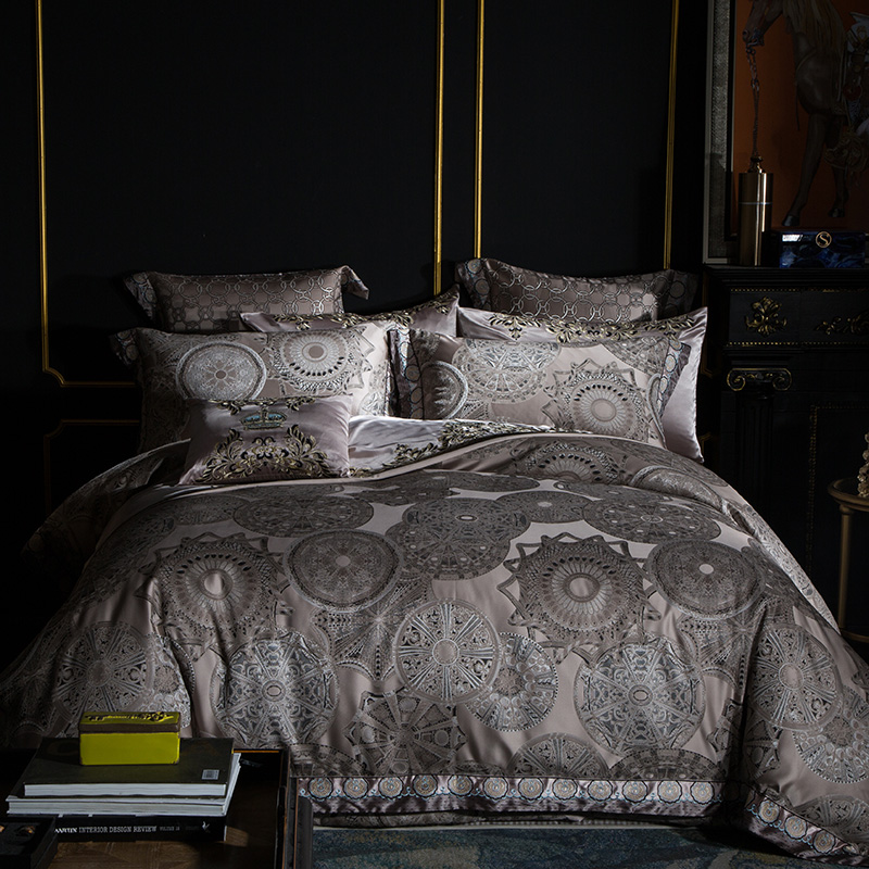 Jacquard de luxo Conjuntos de Cama da Rainha do Rei em Tamanho real 4/6/9 Pcs Duvet Cover Set Colcha/Fronha boho lençóis tampa de Cama