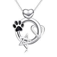 2017 yafeini nieuwe ronde ster hart hanger ketting dier voetafdrukken liefde ketting pet dog poot labels sterling zilver
