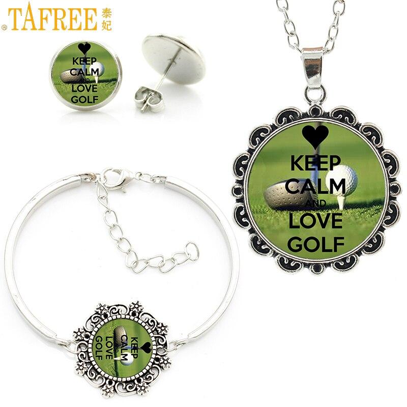 TAFREE sports women jewlery sets vintage Keep Calm and Love Golf flower necklace earrings bracelet set wedding party gifts SP20