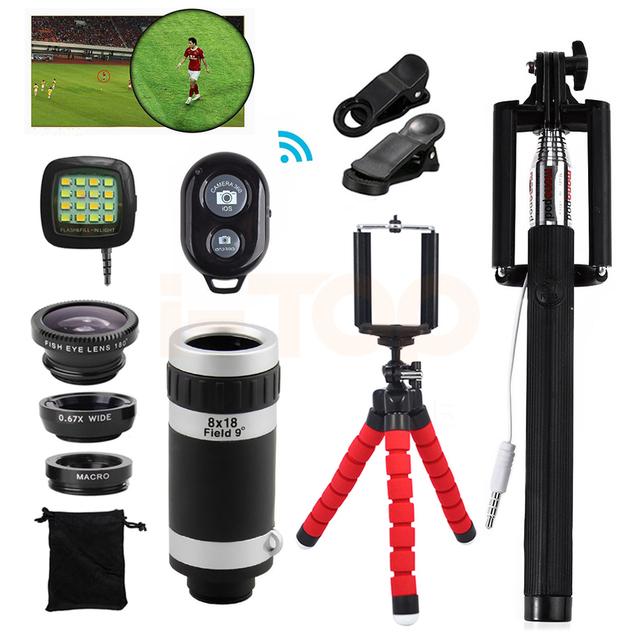 2017 15in1 Kit 8x lente Zoom Telefoto Móvil Lentes de ojo de Pez de Ancho lentes de ángulo macro para samsung j3 a7 a8 grand prime trípode Clip