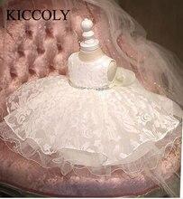 Haute Qualité Bébé Fille Dress Glitz Mousseline de Soie Baptême Dress pour fille Infantile 1 Année D'anniversaire Dress Bébé Chirstening Dress pour infantile