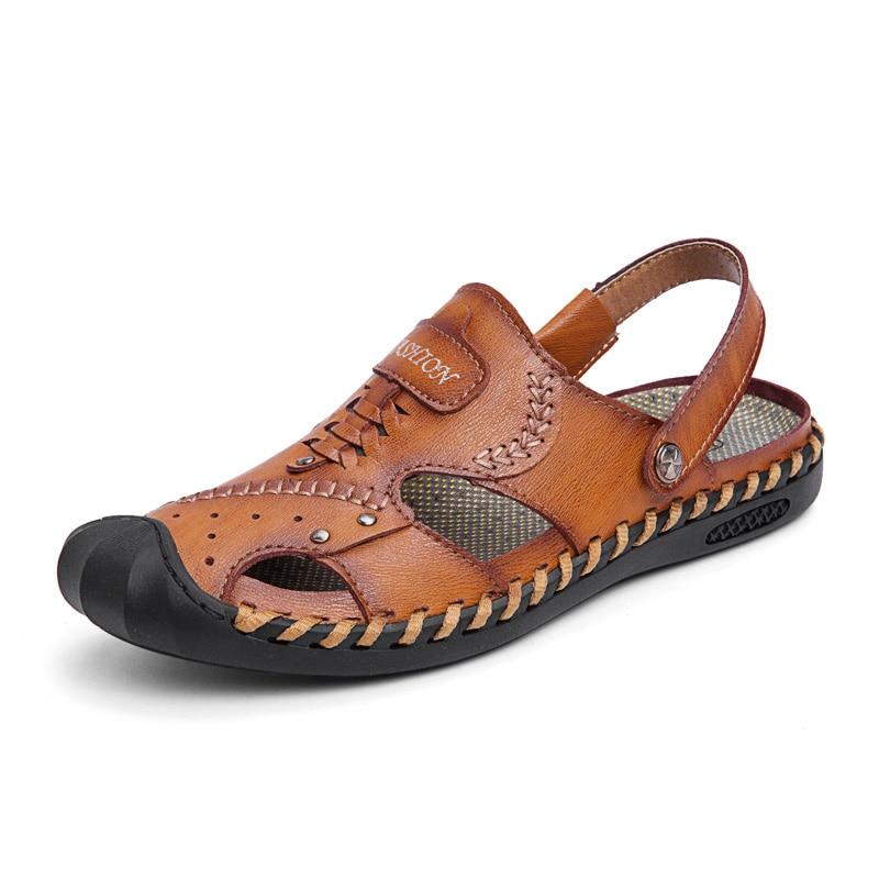 9e13e43baf8491 2019 5j9308 brown Véritables Chaussures Noir Romain D'eau Nouveau En Cuir  Sandales kaki D'affaires Plage Décontractées Hommes ...