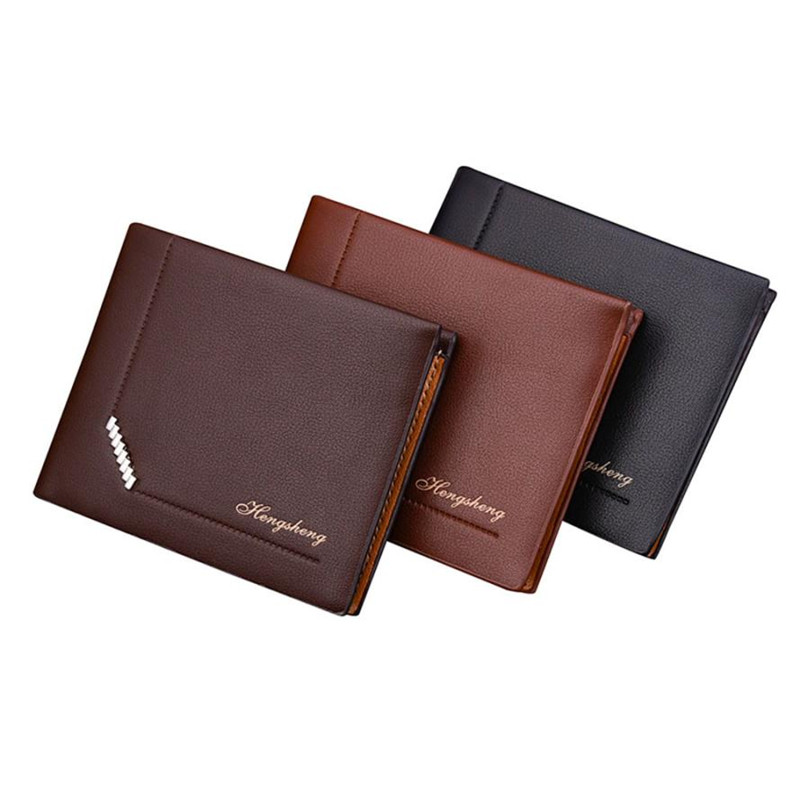 Dollar Price Men Wallets Famous Brand HENGSHENG Fashion Leather Wallet Wallets Coin Pocket Thin Purse Card Holder For Men Slim dc movie hero bat man anime men wallets dollar price short feminino coin purse money photo balsos card holder for boy girl gift