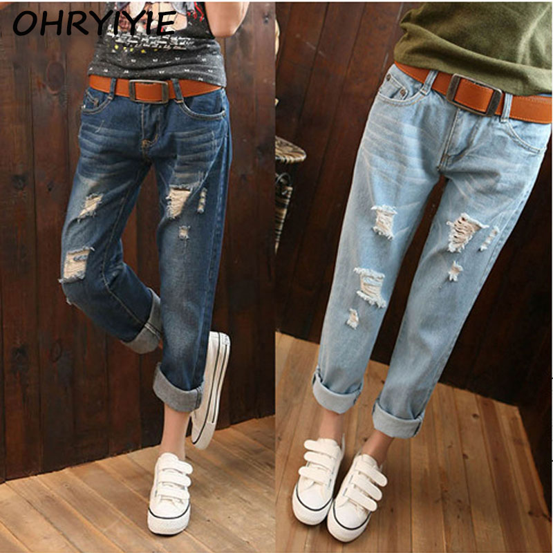 buy ohryiyie plus size 6xl women high waist jeans white ripped jeans for women. Black Bedroom Furniture Sets. Home Design Ideas