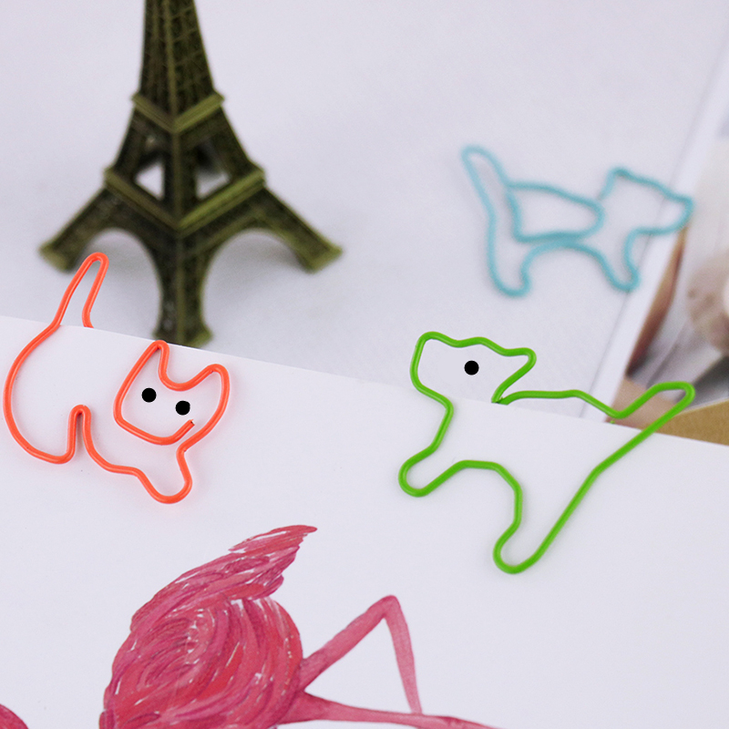TUTU 9pcs/lot Cat Shape Paper Clips Creative Interesting Bookmark Clip Memo Clip Shaped Paper Clips For Office School Home H0050