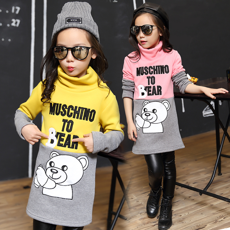 2018 winter children's clothes girls sweaters casual bear thicken fleece long style baby girl pullovers sweater for girl kids