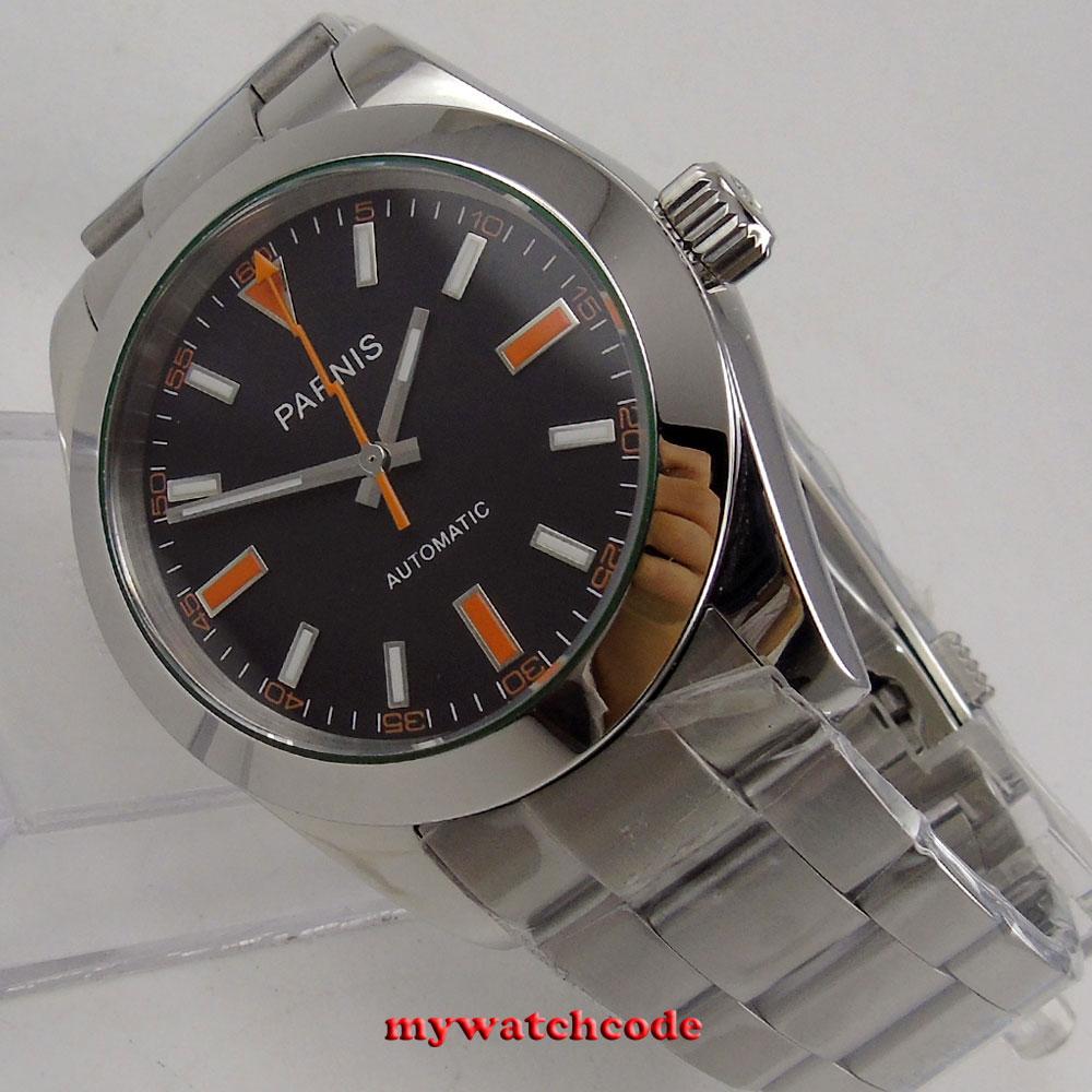 40mm parnis black dial sapphire glass miyota automatic folding clasp mens watch40mm parnis black dial sapphire glass miyota automatic folding clasp mens watch