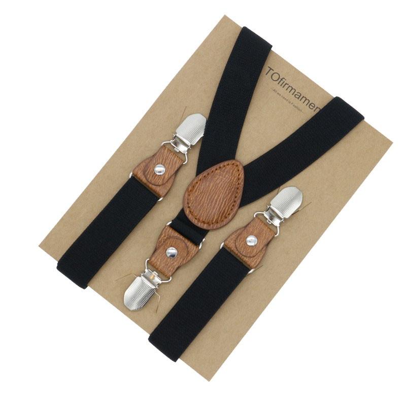 3 Clips Boys Solid Formal Event Children Wedding Shirt Suspender Little Adjustable Vintage Color