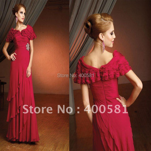 Blingbling Cap Sleeve Empire A-line Floor-length Cranberry Ruched Beaded Tiered Chiffon Evening Dresses From Dubai