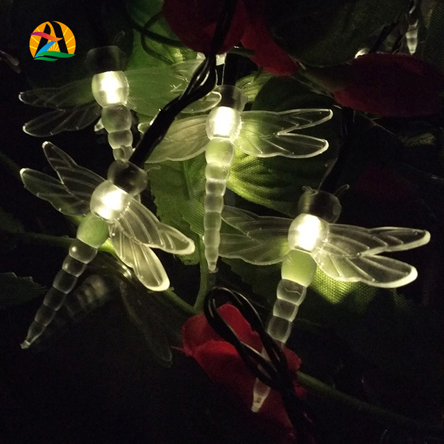 Novelty  Dragonfly Solar LED Strings Light Party Holidays Wedding Decoration Lights Mariage Solaire Lumiere Outdoor Waterproof