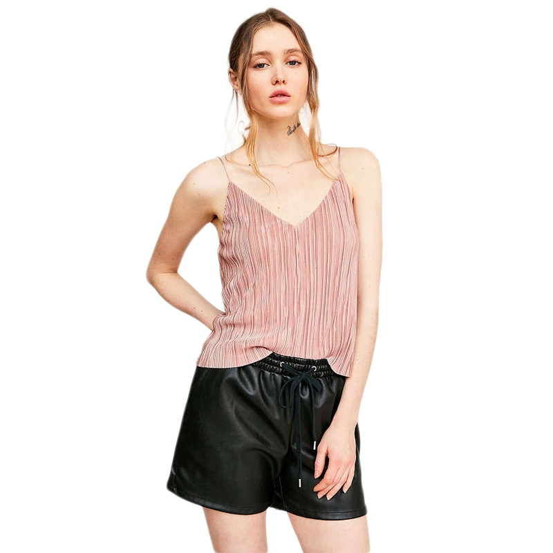 Sexy V-neck Sleeveless Off Shoulder Hollow Out Back Silence Noise Baby Pleat Slip Cami Blouse Vest Pink Green Gray TA02800059