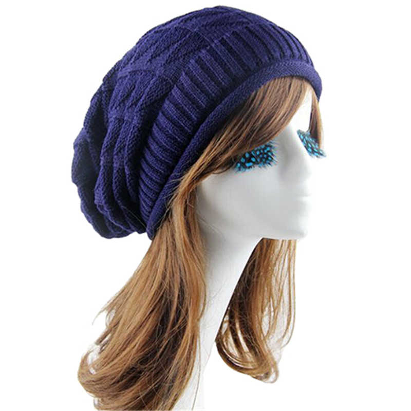 4cfa31d4cf3 ... Fashion Rhombus Female Pattern Tricorne Knit Winter Warm Crochet Hat  Braided Baggy Beret Beanie Cap For ...