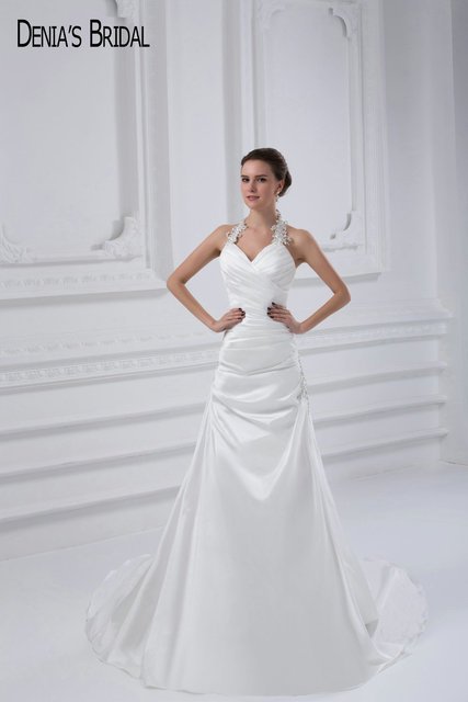 2017 A Line Stain Wedding Dresses With Halter Neckline Lace Up