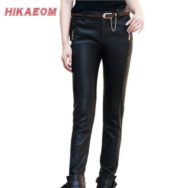 EW Pu Pantalones de Cuero Para Mujer de Invierno de La Moda Más Tamaño 5xl Lápiz Pantalones Flacos Para La Mujer Con Cinturón