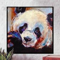 Ręcznie malowane obrazy olejne zwierząt panda skarby nowoczesne proste do dekoracji salonu malarstwo na płótnie oprawione na Płótnie