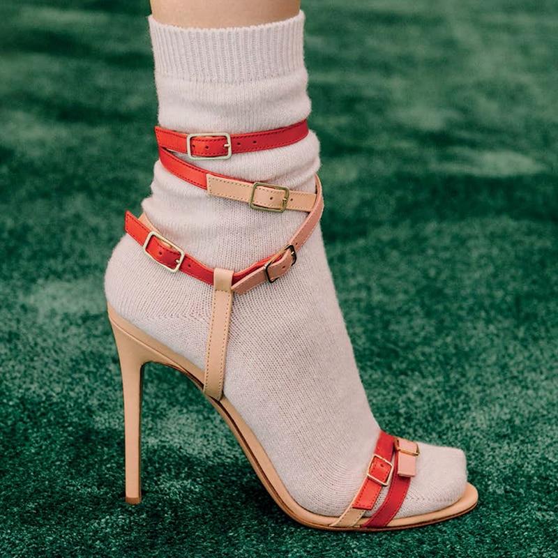 Moda Multi Fivela Sandália Enjaulado Sandálias de Salto Stiletto Mulheres Brancas de Tiras de Salto Alto Sapatos de Saltos Altos Das Senhoras Vestido de Festa de Verão - 5