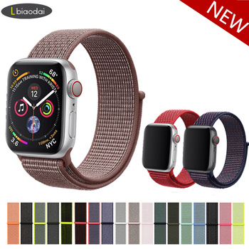 4e2f38c5b3fb Correa de Nylon para Apple reloj de banda de Apple watch 4 3 42mm 44mm  38mm 40 MM pulsera de la venda de reloj para iwatch 4 3 2 1 Series