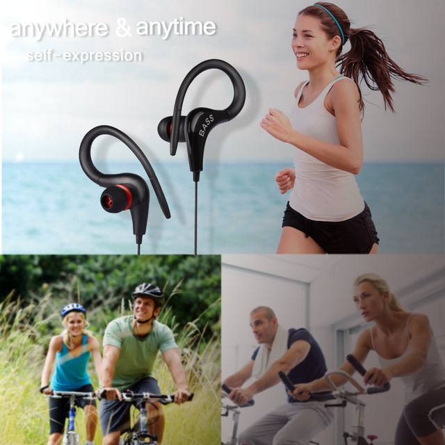 In ear Noise Canceling Earphone Headphones Stereo Bass Sport Ear Hook Handsfree Head phone for Phone MP3 MP4 Player