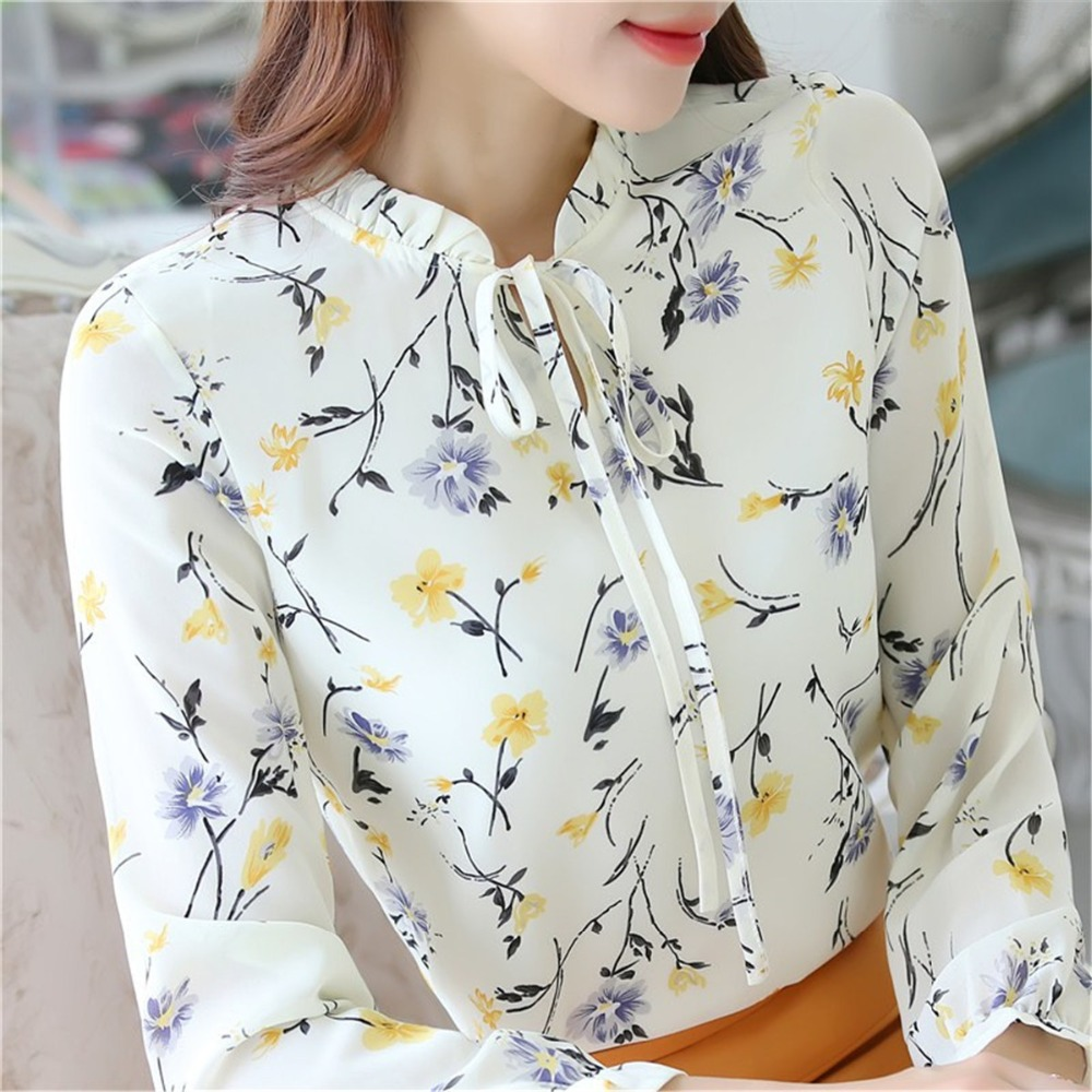 Korean Flower Print Chiffon   Blouse   Women   Shirt   Fashion 2019 Summer Office Ladies Top Long Sleeve Plus Size   Blouse   Chemise Femme