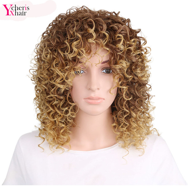 YXCHERISHAIR Synthetic Afro Kinky Curly Wigs Heat Resistant African ...