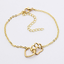 1PC hot fashion hollow animal bracelet footprint heart  dog cat paw print silver cute womens accessories
