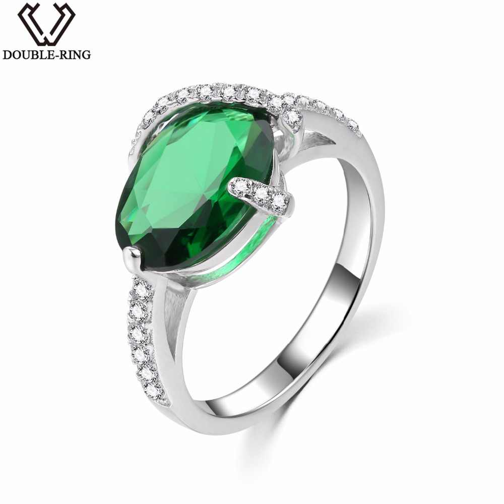 DOUBLE-R Created Emerald 3.38ct Gemstone Sterling Silver Ring Zircon 925 Engagement Ring