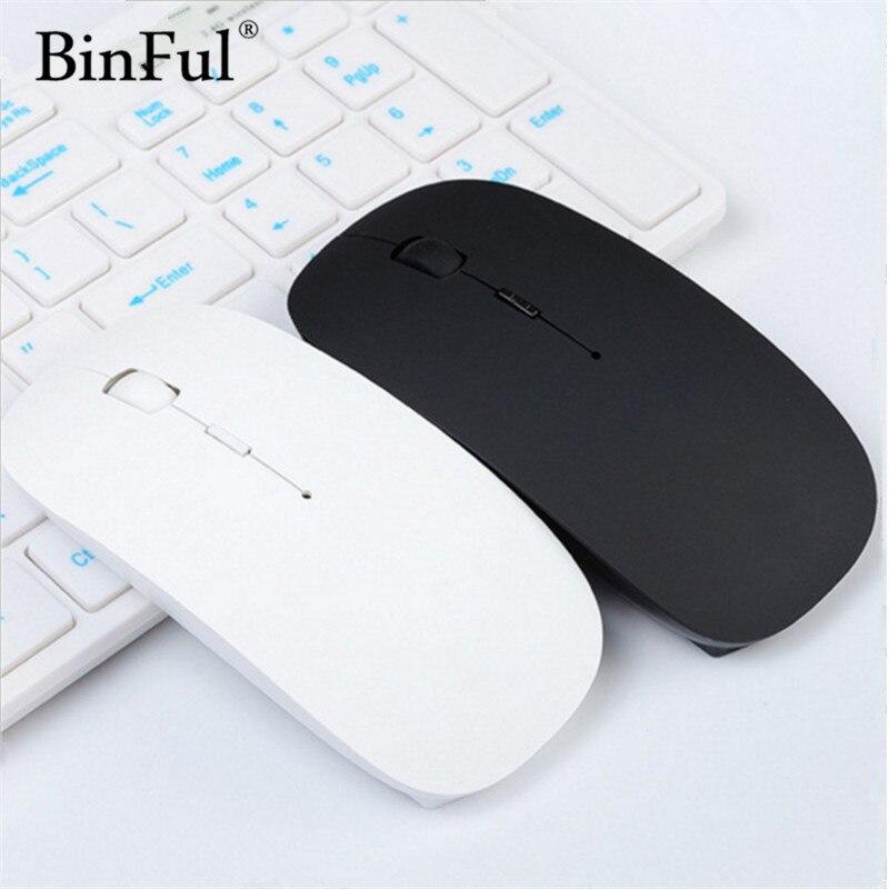 все цены на BinFul Ultra Thin USB Optical Wireless Mouse 2.4G Receiver Super Slim Mouse For Computer PC Laptop Desktop black Candy color онлайн