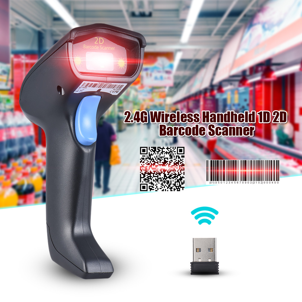 2.4G Wireless Wired Cordless Handheld 1D 2D QR Barcode Bar Code Scanner Reader for Supermarket Library Express Company Warehouse