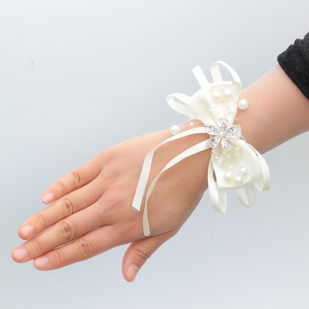 Ivory Silk Satin Artificial Wrist Flower wedding Corsage Bride bridesmaid Hand Bracelet Wedding Accessories