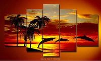 Hand Painted Coconut 5 Piece Set Palm Trees Yellow Sunset Sea Landscape Oil Painting On Canvas Modern Abstract Wall Decor Art