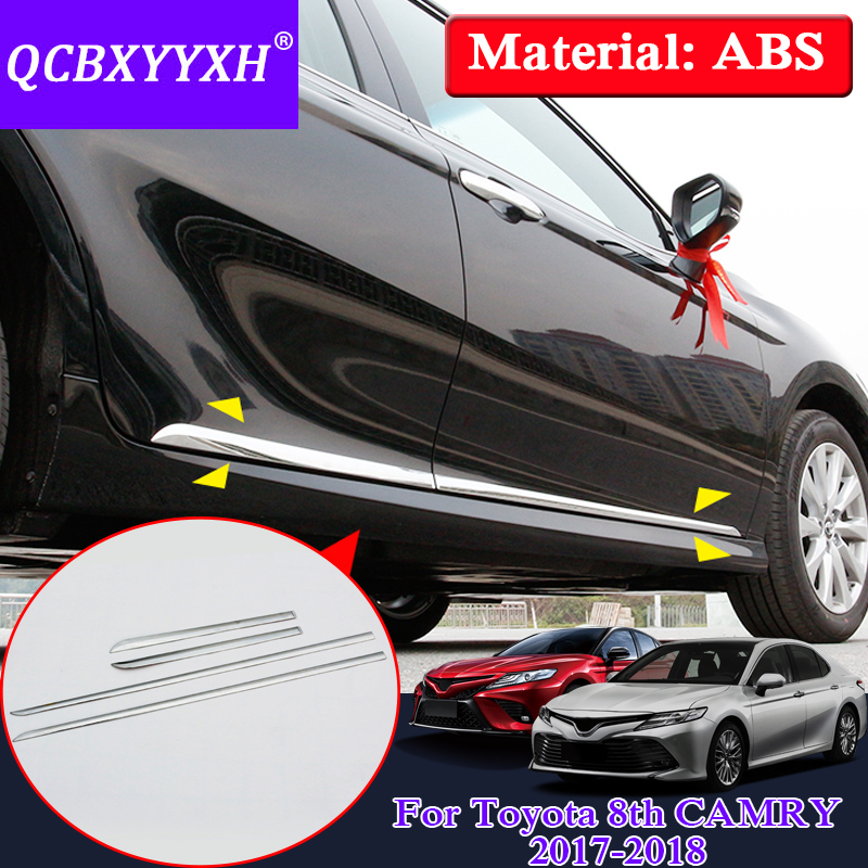 Qcbxyyxh Car Styling Abs 4pcs Sequins For Toyota Camry 2017 2018 Chrome Door Side Body Molding Line Kits Cover Trim Strip