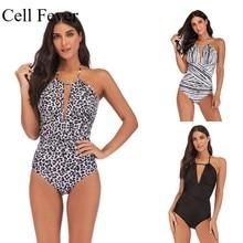 цена на Plus Size S-5XL One Piece Swimsuits For Women Halter Backless High Cut Tummy Control Swimwear Female Monokini Beach Bathing Suit