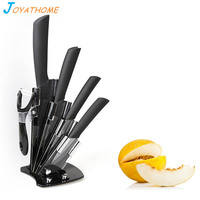 Joyathome 6pcs Black Blade Ceramic Knife Set 3 4 5 6 Inch Peeler with Acrylic Knife Holder Zirconia Ceramic Blade Chef Knives