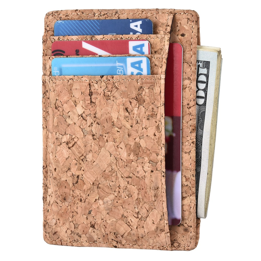 Cork fabric slim wallet Business card case Leather credit card wallet.
